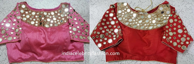 Simple Mirror Work Blouse Designs
