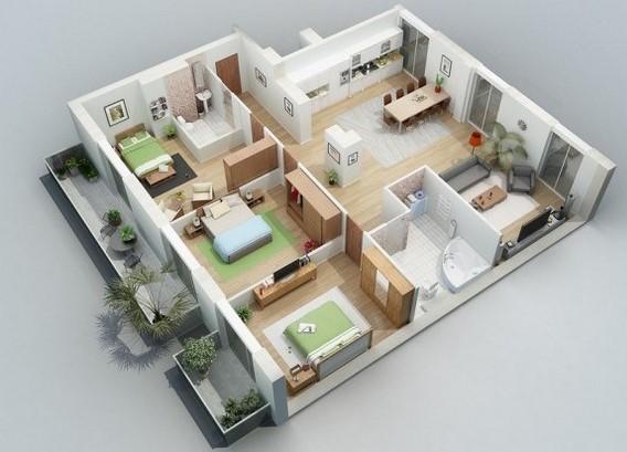 36 Desain Rumah Sederhana 3 Kamar 1 Lantai Minimalis Modern