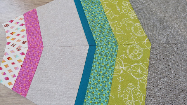 Luna Lovequilts - Patchwork rug in progress - Essex linen and Tula Pink fabrics