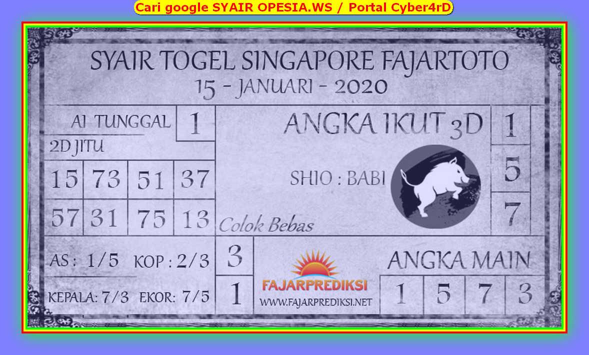 Kode syair Singapore Rabu 15 Januari 2020 99
