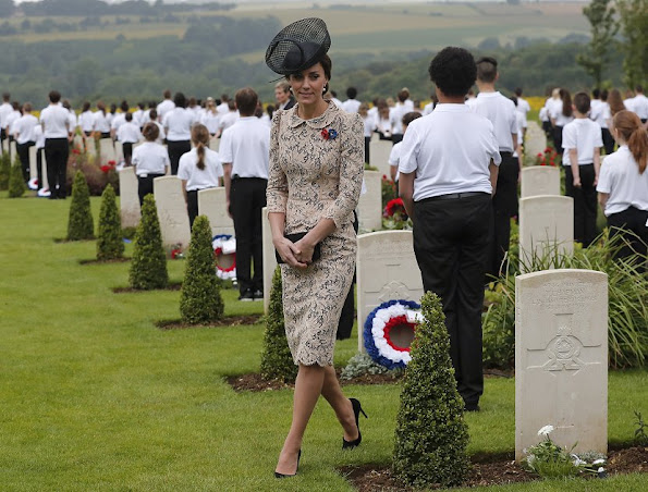 Prince William, Kate Middleton, Prince Harry, Francois Hollande, David Cameron attend Somme Centenary commemorations. Kate Middleton wore a new lace dress