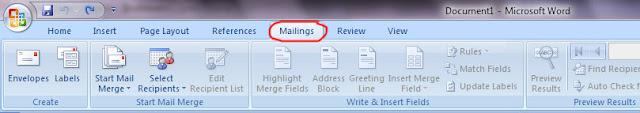 Menu Mailings Ms. Word