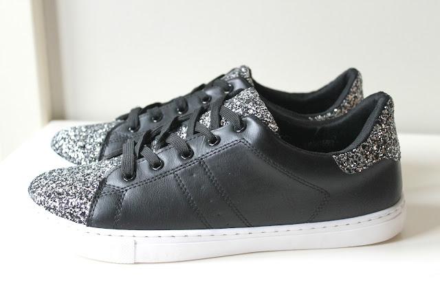 zwarte sneakers met zilveren glitters intro fashion store