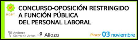 Concurso-oposición restringido a función pública del personal laboral del Ayuntamiento de Alloza