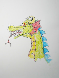 Illustration for a drawing lesson for how to draw a dragon.