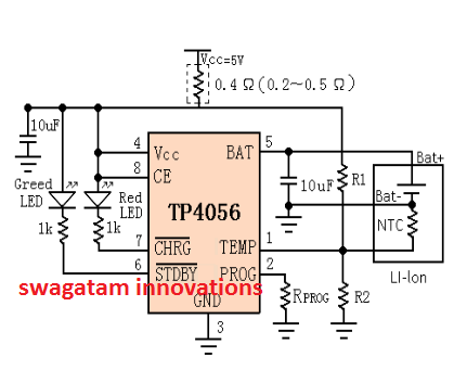 IC TP4056 circuit diagram for Li-ion charger