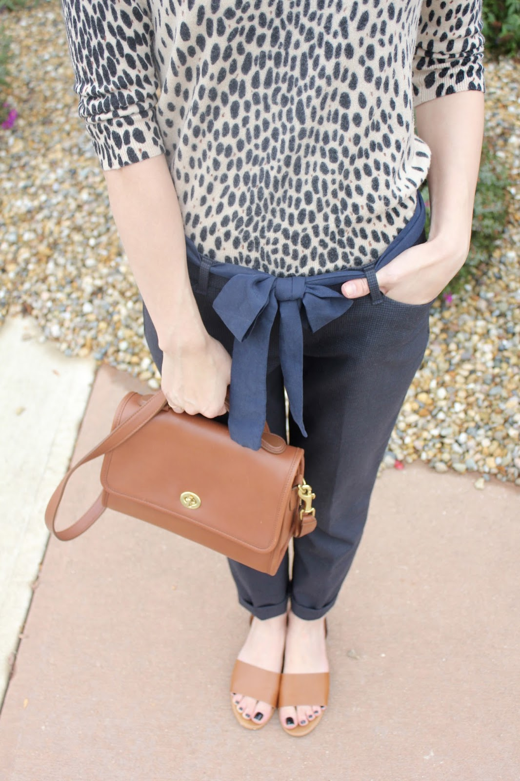 J.Crew leopard sweater, Gap navy pants, and brown leather Coach purse