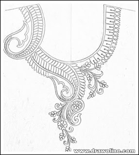 Top 5 patterns pencil sketch on tracing paper for hand emroidery neck design. Blouse necks design drawing for embroidery.how to draw neck design for kurti.