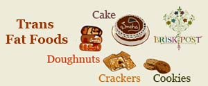 Trans fat foods illustration (Worst Fat Foods): cake, cookies, crackers, doughnuts