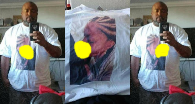 An American man who caught his girlfriend cheating on him, decided to print the picture on his T-shirt and wore it to her workplace.