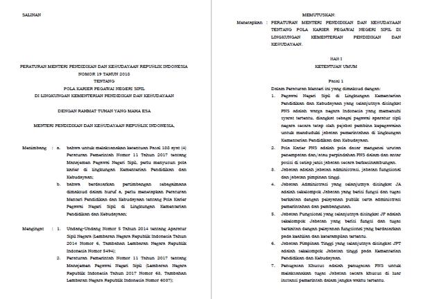 Permendikbud Nomor 19 Tahun 2018 tentang Pola Karier PNS di Lingkungan Kemdikbud