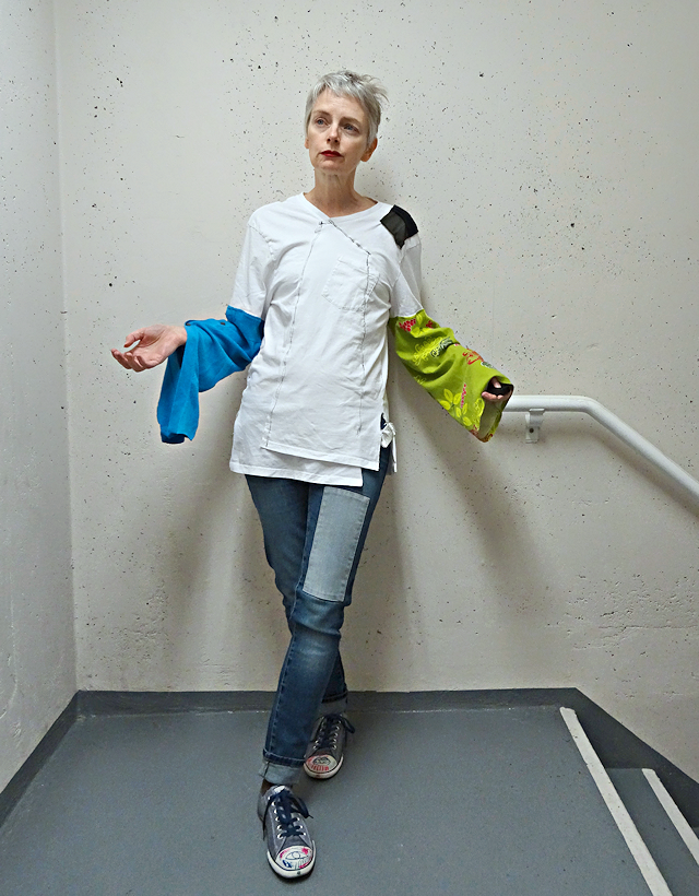 Upcycled T-shirt with big sleeves, Bag and a Beret, Mel Kobayashi