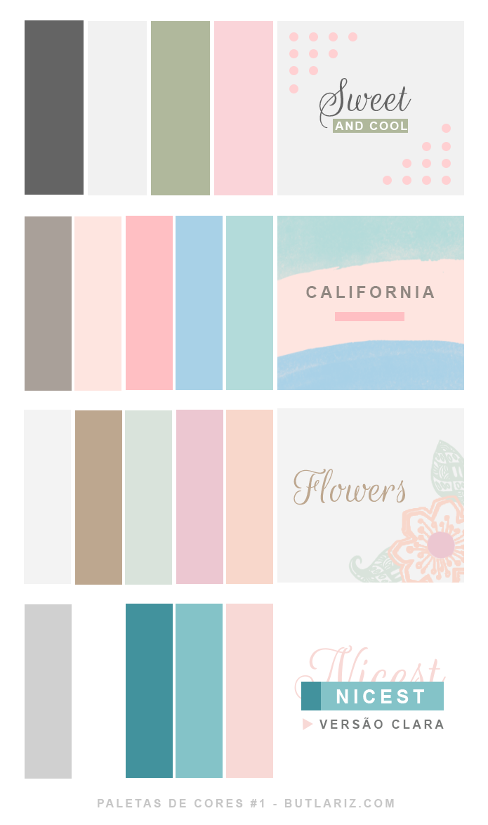Paleta de cores claras e minimalista