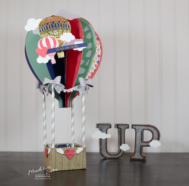 Paper Hot Air Balloon made from Stampin Up papers, dies and stamps