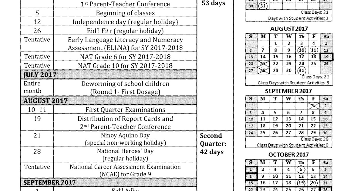 school calendar for school year 2017 2018 deped tambayan ph