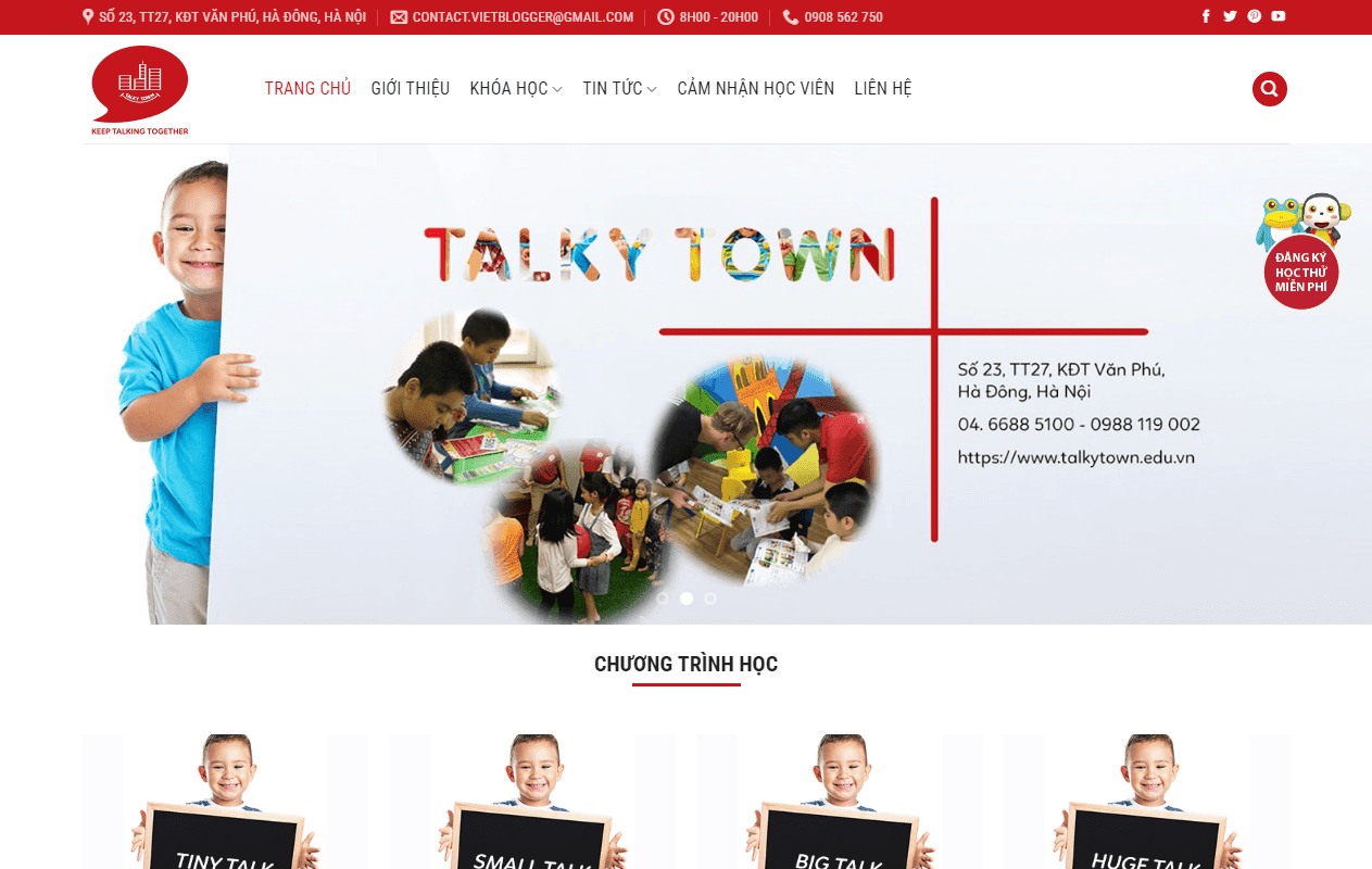 Landing Page trung tâm tiếng Anh trẻ em Talky Town