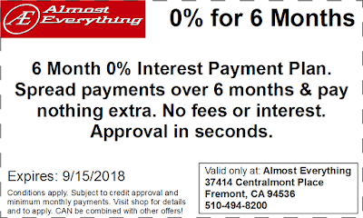 Coupon 6 Month Interest Free Payment Plan August 2018