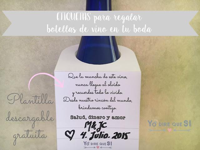 Etiquetas personalizadas para regalar botellas de vino en tu boda. Plantilla descargable gratuita.