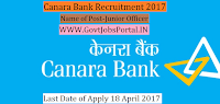Canara Bank Recruitment 2017– Depository Participants Relationship Manager, Junior Officer