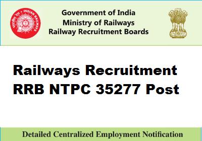 Railway RRB NTPC 35277 Post Online Form 2019