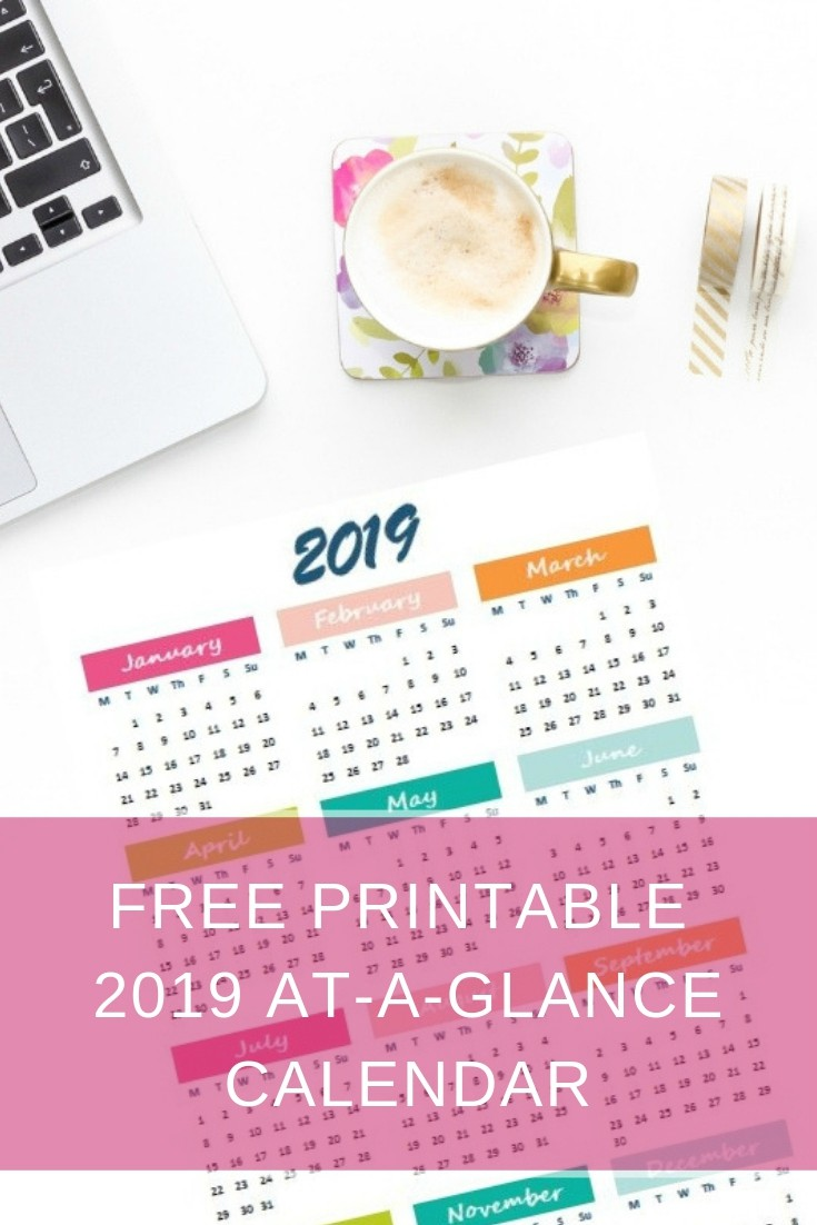 2019 Year At-A-Glance free printable calendar (english & greek version) | Ioanna's Notebook