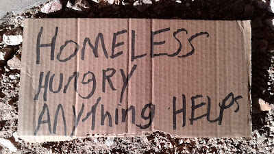Homeless Hungry Anything Helps Cardboard Sign