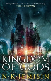 Cover of The Kingdom of Gods, featuring a palace hovering above a stormy sea while a shadowed figure looks on from above.