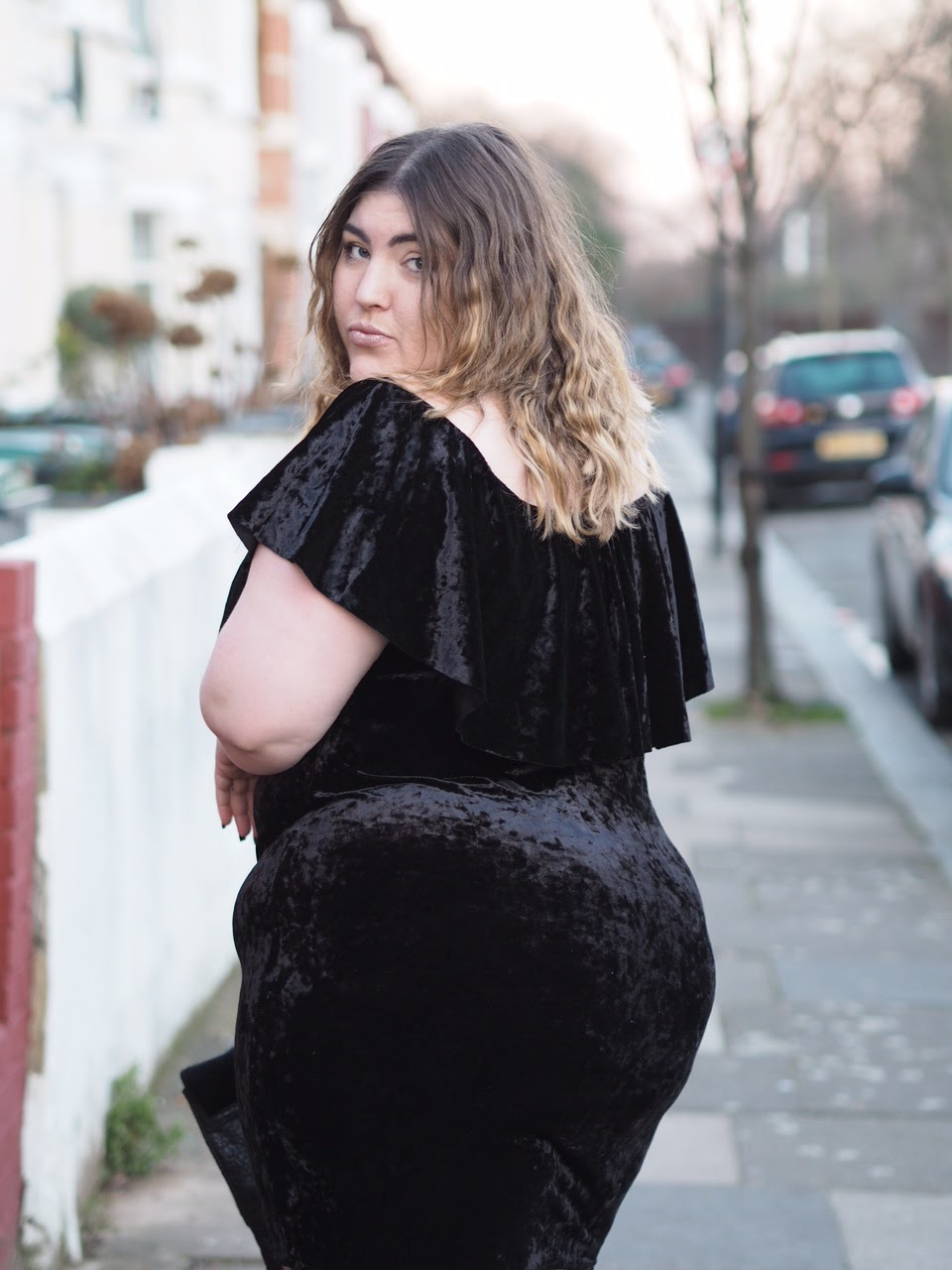 In The Style Curve - Crushed Velvet Off The Shoulder Dress