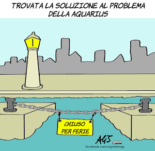 ong, aquarius, salvini, porti, migranti, vignetta, satira