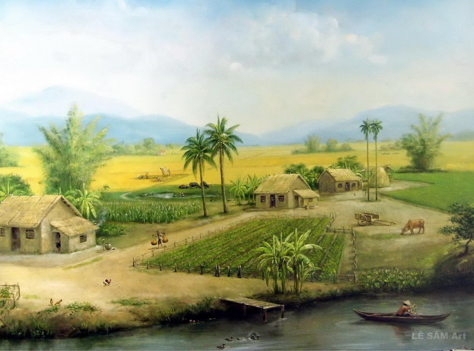 LÊ SÂM   vẽ tranh sơn dầu: Canh Dong que Viet nam