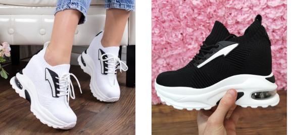 Sneakersi Scarus albi, negri cu talpa cu perna de aer