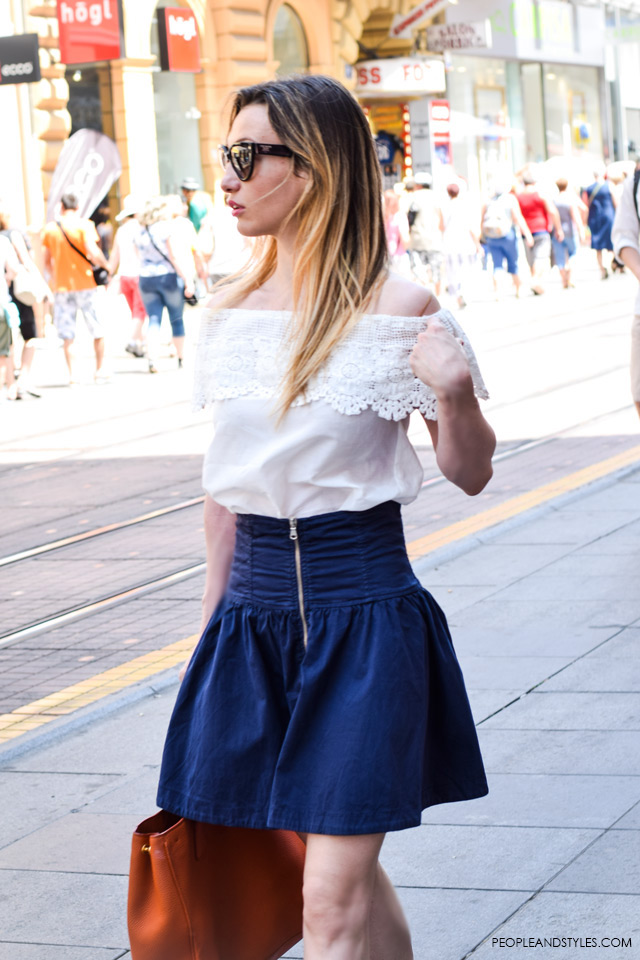 Off shoulder top and jeans mini dress street style in Zagreb, summer fashion, June 2015. What to wear to work in summer
