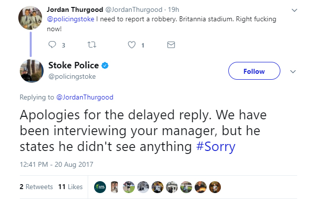 The Stoke Police responds to an Arsenal fan on Twitter