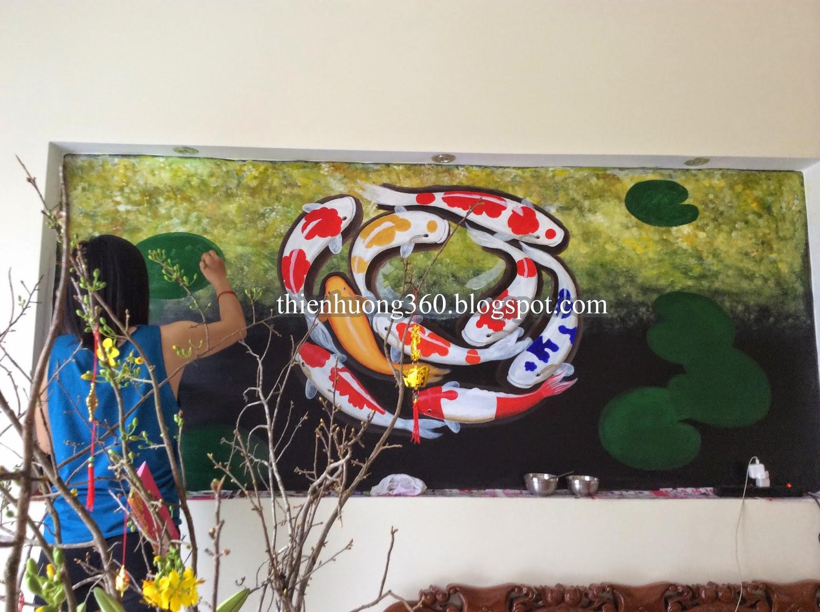 Vẽ tranh tường Cá chép và hoa sen