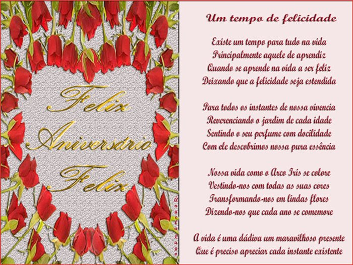 Poemas De Aniversario Para Amiga: UM TEMPO DE FELICIDADE - Mensagens De Aniversário