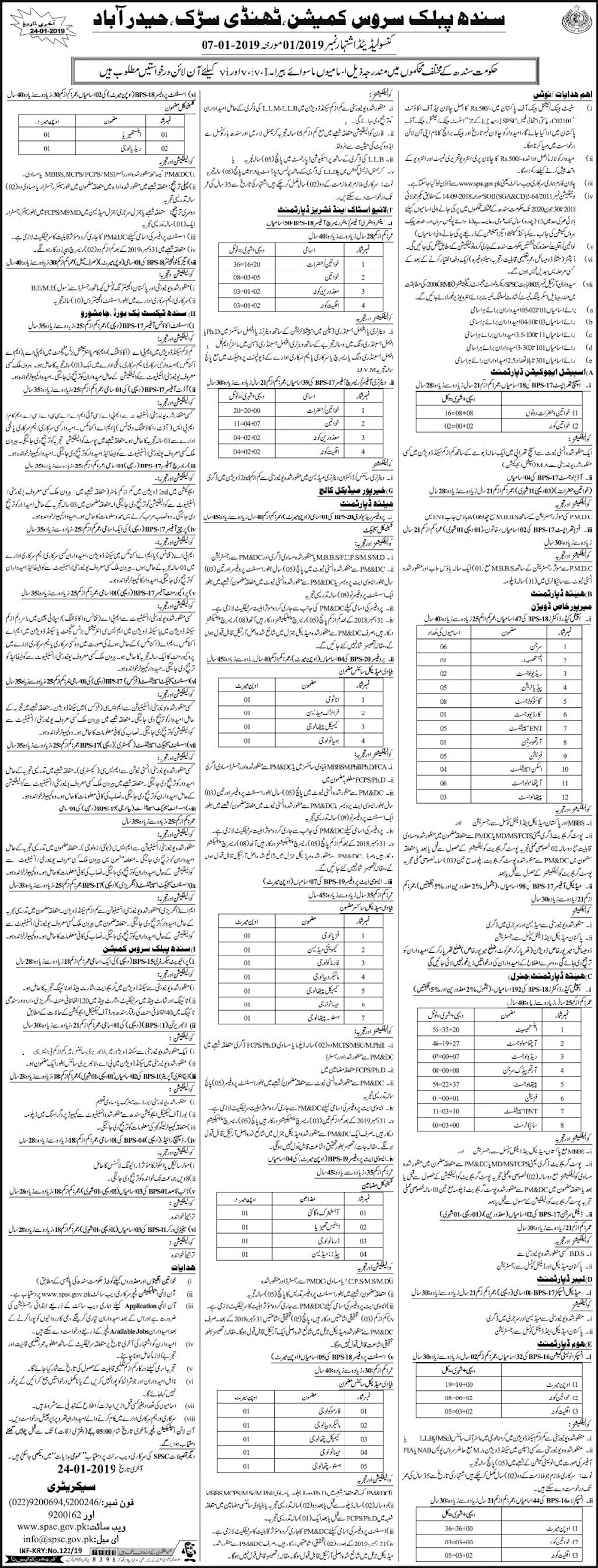 Jobs vacancies In Sindh Public Service Commission SPSC 10 January 2019