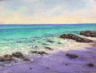 Soft pastel painting of a scene from Bamboo island by Manju Panchal