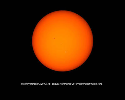 Transit of Mercury photographed at Palmia Observatory