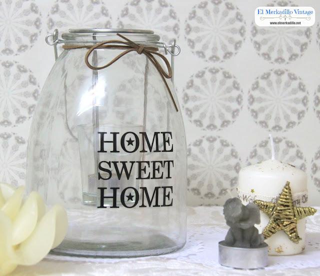 Farol Portavelas de vidrio Mod. Home Sweet Home