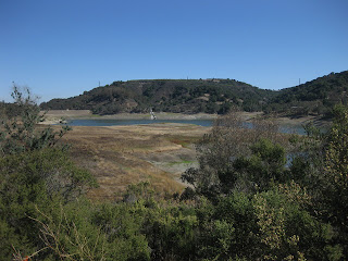 Little water left in the Lexington Reservoir, Los Gatos, California