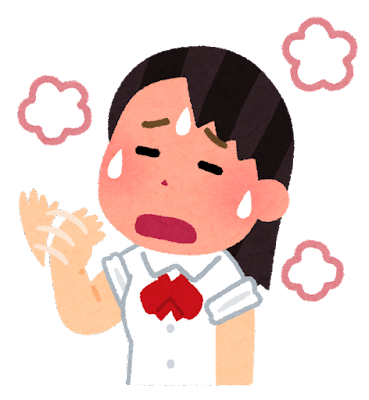 暑い人のイラスト(女子学生)