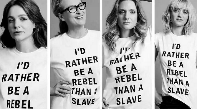 """I'd Rather Be A Rebel Than A Slave"" Suffragette T-shirts as worn by Meryl Streep and Carey Mulligan. PYGEAR.COM"