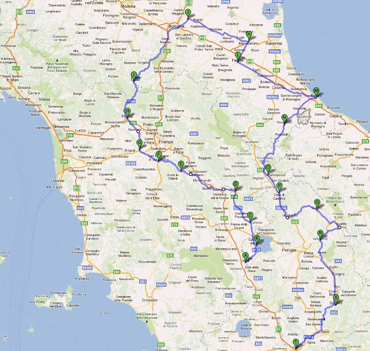 Cartina Stradale Italia Centro Nord.Storie E Racconti Di Un Viaggiatore Italia 150 Viaggio In Bici Nel Centro Dello Stivale