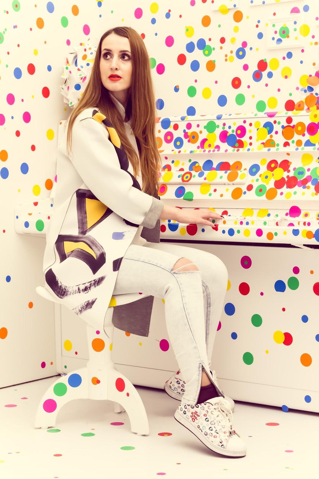 Yayoi Kusama, print neopren jaket Aliexpress