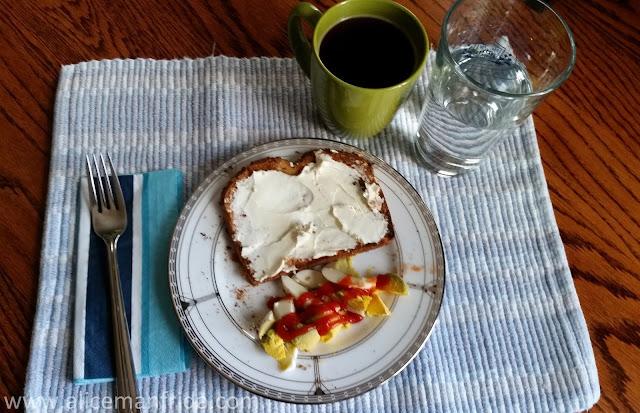Breakfast, toast, eggs, coffee