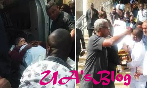 JUST IN: Olisa Metuh arrives court in ambulance