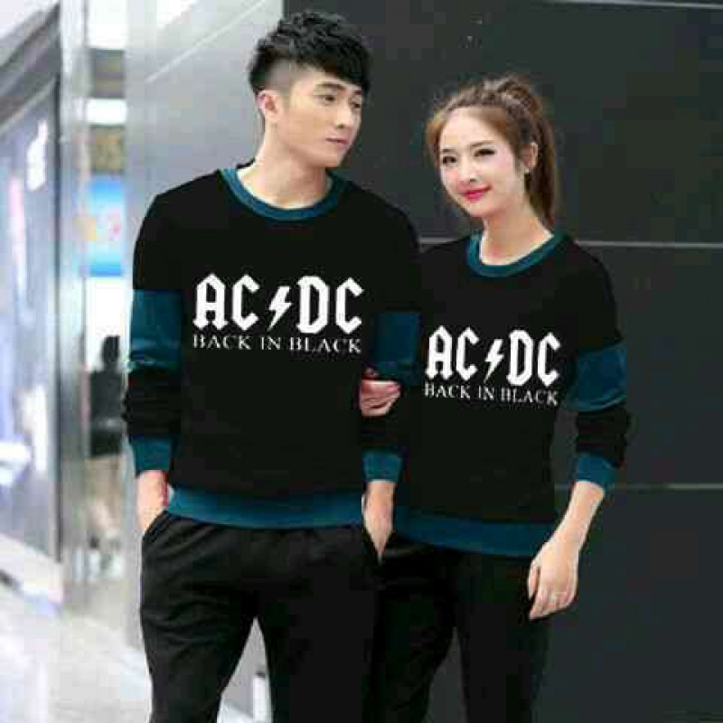 Jual Online Sweater ACDC Black Tosca Couple Murah Jakarta Bahan Babytery Terbaru