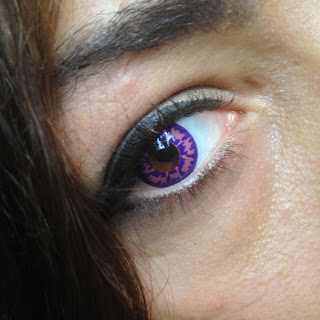 Closeup of purple lenses in the eye
