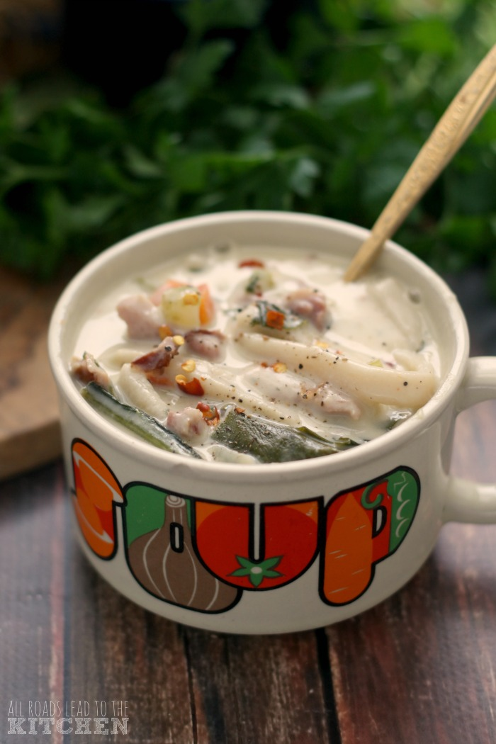 Creamy Ham and Greens Noodle Soup | #Reames #HomemadeGoodness