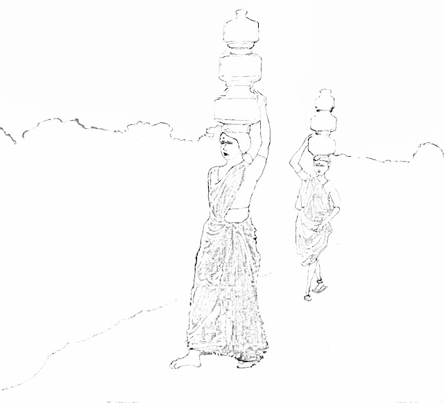 sketch of village women with water pots